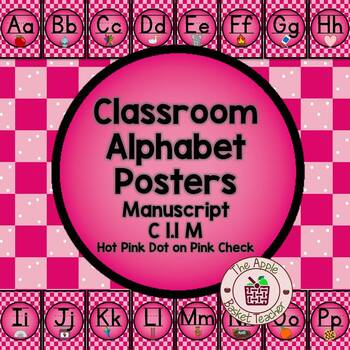 ModernDN Cursive Alphabet Line Posters Hot Pink & Black with Pink Check Bkgd