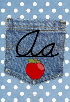 ModernDN Cursive Alphabet Line Posters Jean Pocket 1 on Polka Dot Lt Blue