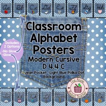 ModernDN Cursive Alphabet Line Posters Jean Pocket 1 on Po