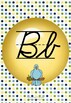 ModernDN Cursive Alphabet Line Posters Yellow Dot~Multicolored Polka Dot Bkgd