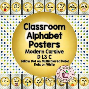 ModernDN Cursive Alphabet Line Posters Yellow Dot~Multicolored Polka Dot Bkgd
