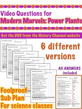 ModernMarvels: Power Plants -  Video questions - Great Sub Plan!