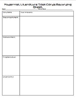 Modernist Literature Task Cards
