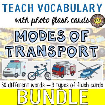 Modes of Transport Photo Flash Cards BUNDLE for ESL/ELL teens
