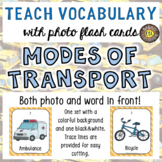 Modes of Transport Photo Flash Cards Photo and Word in Front