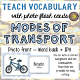 Modes of Transport Photo Flash Cards: Photo in Front and W