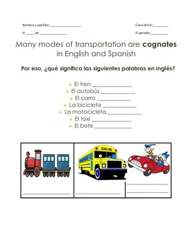 Modes of Transportation en Español Guided Notes