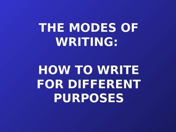 Modes of Writing PowerPoint