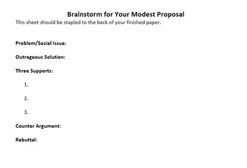 Modest Proposal COMPLETE Unit with Study Guide and Project