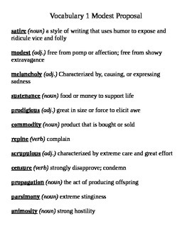 Modest Proposal Vocabulary List
