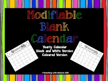 Modifiable Blank Calendar