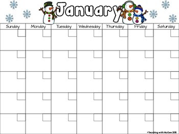 Modifiable Blank Calendar