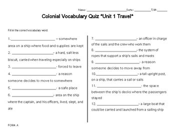 Modifiable Colonial Travel Vocabulary Unit1FULLVersion Study Guide_Cards_Quizzes