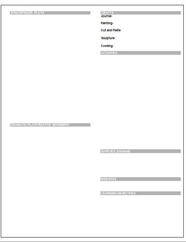 Modifiable Preschool Theme Curriculum Planning Template