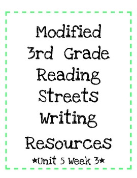 Modified 3rd Grade Reading Streets Unit 5 Week 3 Constructed Response!