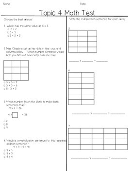 Envision Grade 3 Topic 4, Beginning multiplication, arrays