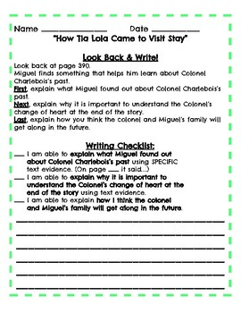 Modified 4th Grade Reading Streets Look Back and Write Assignment Unit 6 Week 3