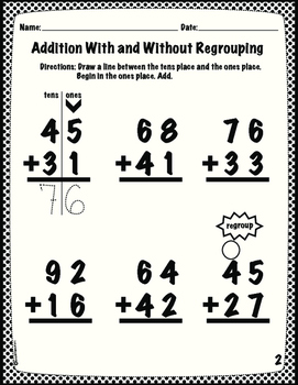 Addition With Regrouping Adapted Homework