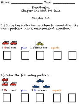 Modified Ch. 1 Pre-Algebra text - Quizzes, Study guide and Test