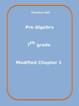 Modified Chapter 1 for Prentice Hall Pre-Algebra text