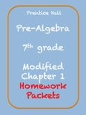 Modified Chapter 1 for Prentice Hall Pre-Algebra text - Homework Packets