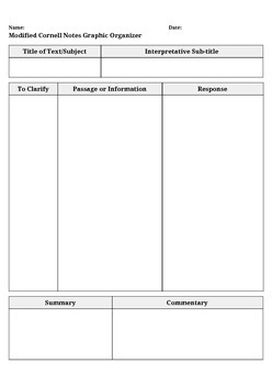Modified Cornell Notes Graphic Organizer with Teaching Guide