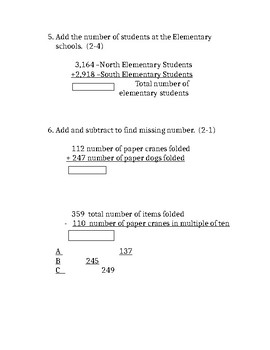 Modified Envision 4th grade Topic 2 Math Test