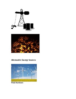 Modified Fossil Fuels and Alternative Energy Definitons and Visuals