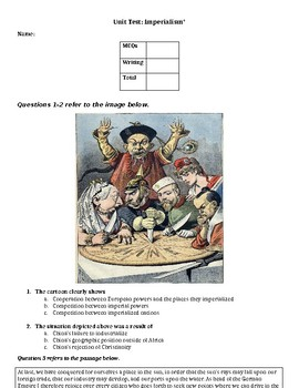 Modified Imperialism Unit Test and Answer Key