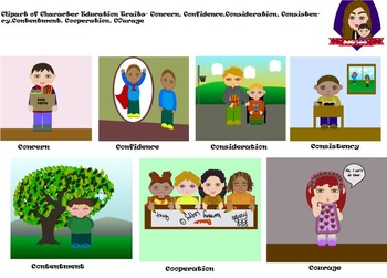 Modified Lessons Clipart of  Character Education Traits (1-13)