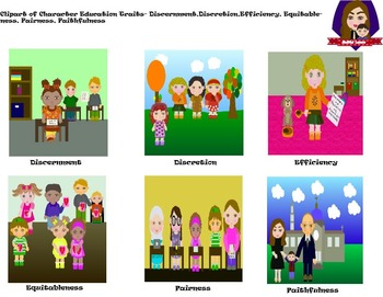 Modified Lessons Clipart of  Character Education Traits (14-25)