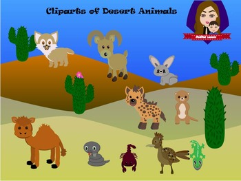Modified Lessons Clipart of Desert Animals (Colored and BW)