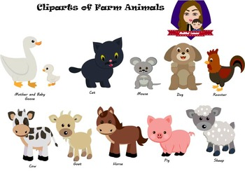 Modified Lessons Clipart of Farm Animals (Colored and BW)