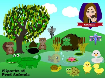 Modified Lessons Clipart of Pond Animals (Colored and BW)