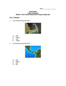 Modified Module 1 4th grade Test, Land and People before European Exploration