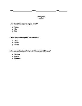 Modified Odyssey Quiz - Book 16
