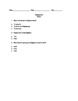 Modified Odyssey Quiz - Book 5