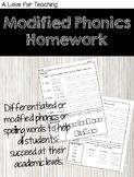 Modified Phonics Homework