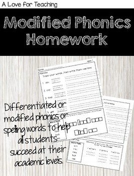 Modified Phonics Homework