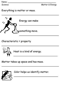 Modified Physics Science Notes; Matter; Differentiated for Special Ed