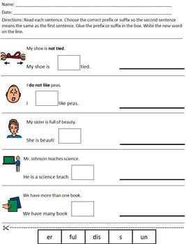 Differentiated/Modified Prefix & Suffix worksheet; special ed ...