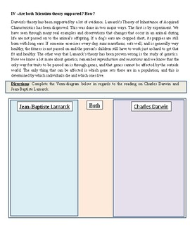Modified Reading Activity on Evolution