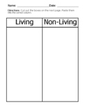 Modified Science: Identify Living vs Nonliving Chart; Cut & Paste Special Ed