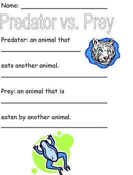Modified Science Notes; Examples of Predator vs. Prey Coloring Activity