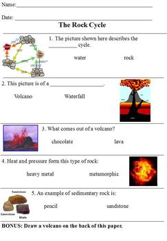 Modified Science Rock Cycle Assessment/Test; Differentiated Special Ed