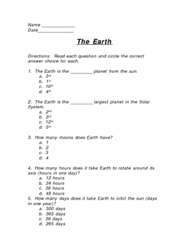 Modified Science Test - All About the Earth 3rd, 4th, 5th grade
