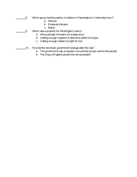 Modified Social Studies Test/Study Guide - Creating America Textbook - Chps 6&7
