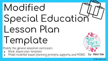 Modified Special Education Inclusion Classroom Lesson Plan Template