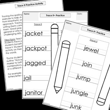 Modified Spelling Activities For 4th Grade {'j' words}