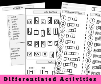 Modified Spelling Activities || Featuring 'p' Words || 4th Grade